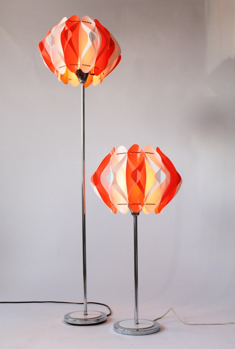 FLOOR & TABLE LAMP with colorfull plastic diffuser vintage 1970 era Usa  (price is for pair )