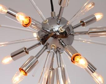 1960s SPUTNIK  with 13 Lights & 12 Lucite Rod , USA