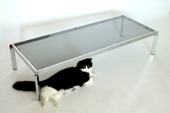 55 Inches Long Coffee Table Chrome And Smoked Glass Vintage Etsy