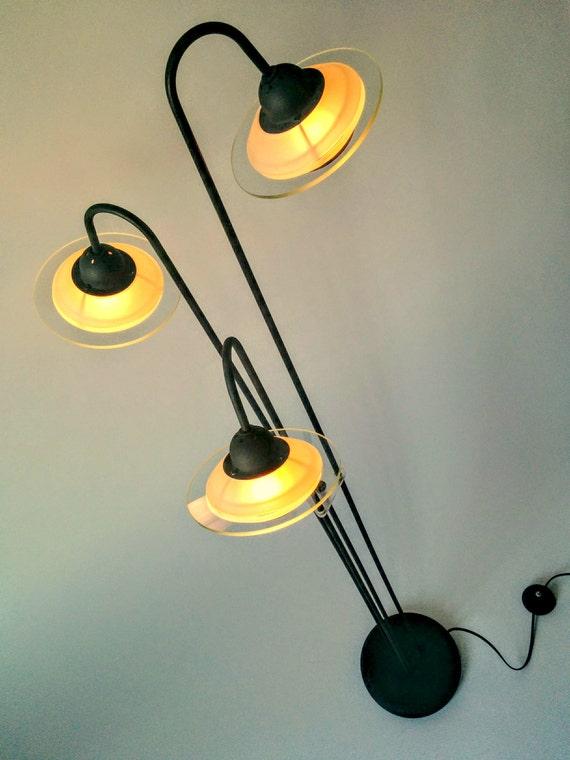 3 FLYING SAUCER UFO floor lamp glass shade vintage modern 1980 era