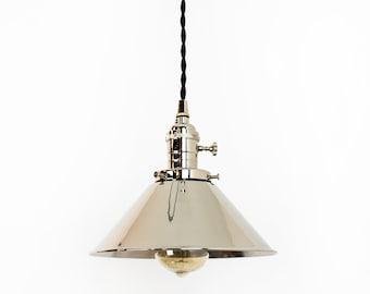 Nickel Pendant Light - Chrome Hanging Lamp - Plug In Pendant - Modern Light Fixture - Kitchen Lights - Farmhouse Decor - Polished Nickel