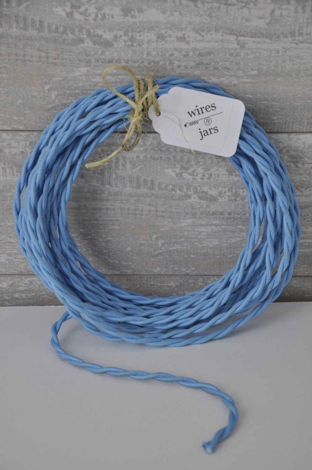 Twisted Cloth Covered Electrical Cord Wire LENGTH BY FOOT Sky Blue ...