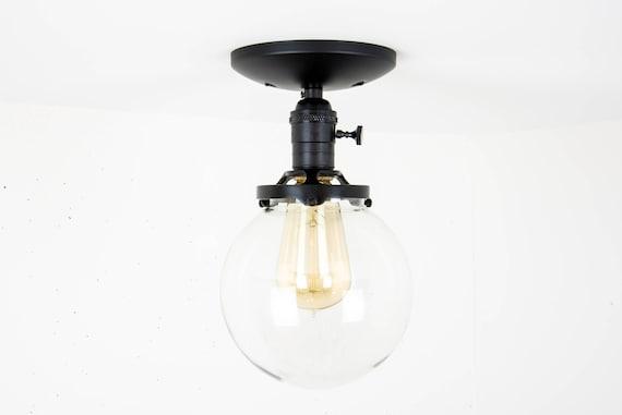 Globe Ceiling Light Black Light Fixture Ceiling Mounted | Etsy