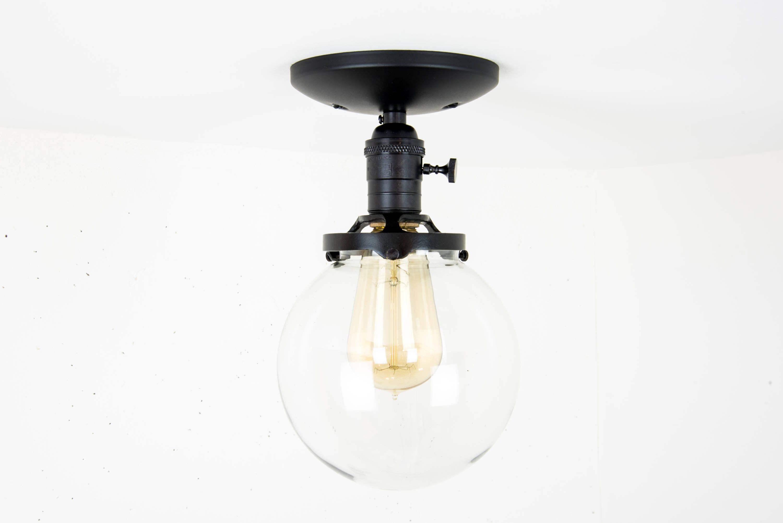 Globe Ceiling Light Black Fixture Mounted Flush Mount Glass Modern Semi Lamp