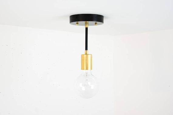 Plafoniere Soffitto Industriali : Soffitto nero luce lampada da in ottone etsy
