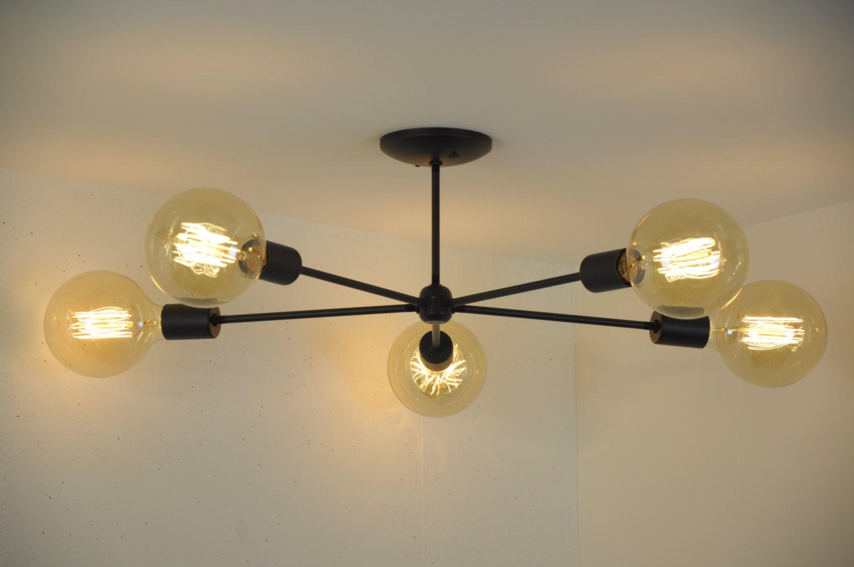 Big modern chandelier mid century modern light sputnik lamp black ceiling light unique light fixture 5 arm flush mounted light