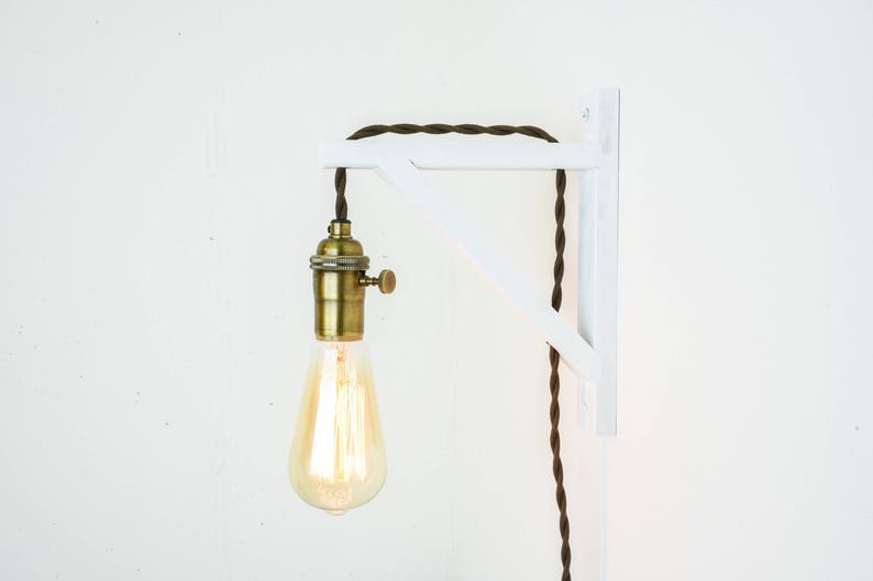 Applique da parete bianco applique plug in parete luce etsy