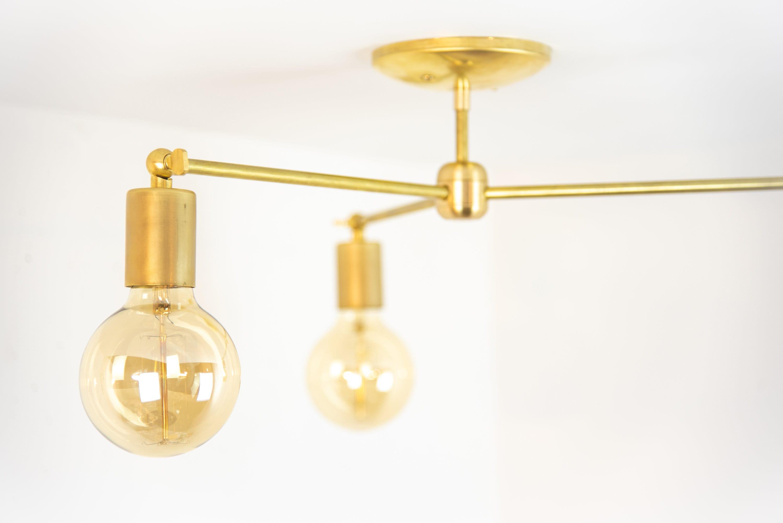 Brass Ceiling Light Mid Century Modern Semi Flush Mount