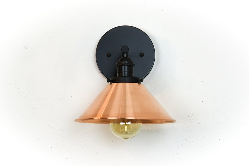 Industriale applique lampada applique da parete in rame etsy