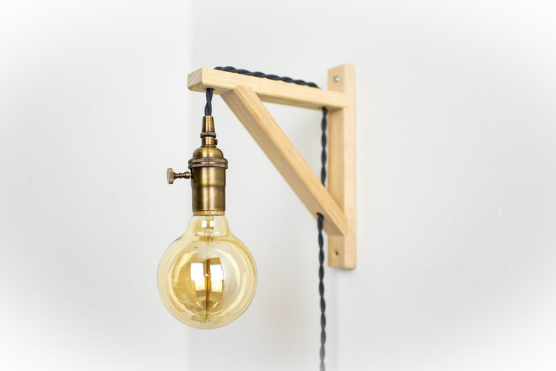 Parete applique ottone anticato betulla legno lampada etsy