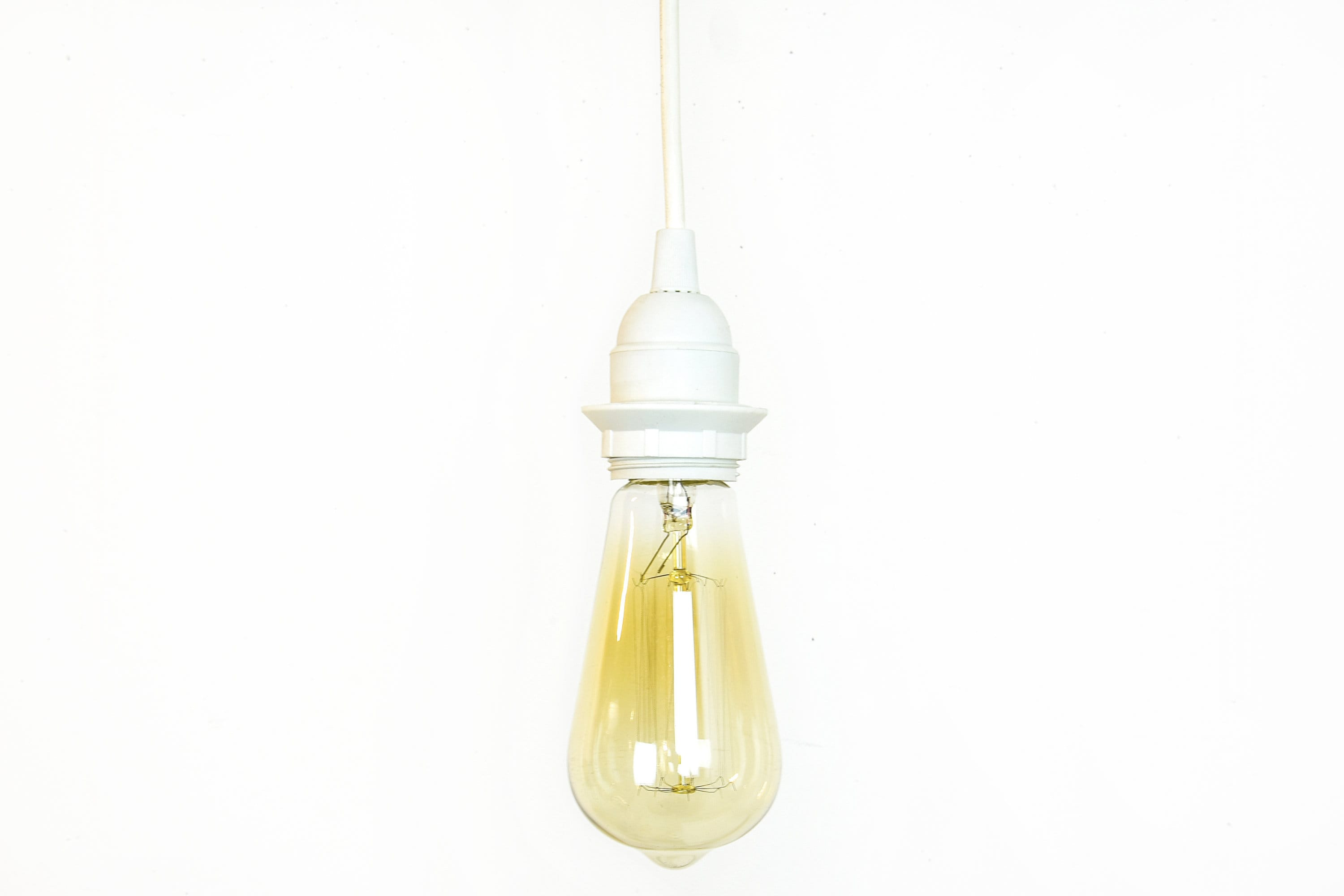 Bare Bulb Hanging Pendant Lights 2 Plug in Hanging Light - Industrial Pendant Lights - Bare Bulb Lighting -  White Ceiling Light