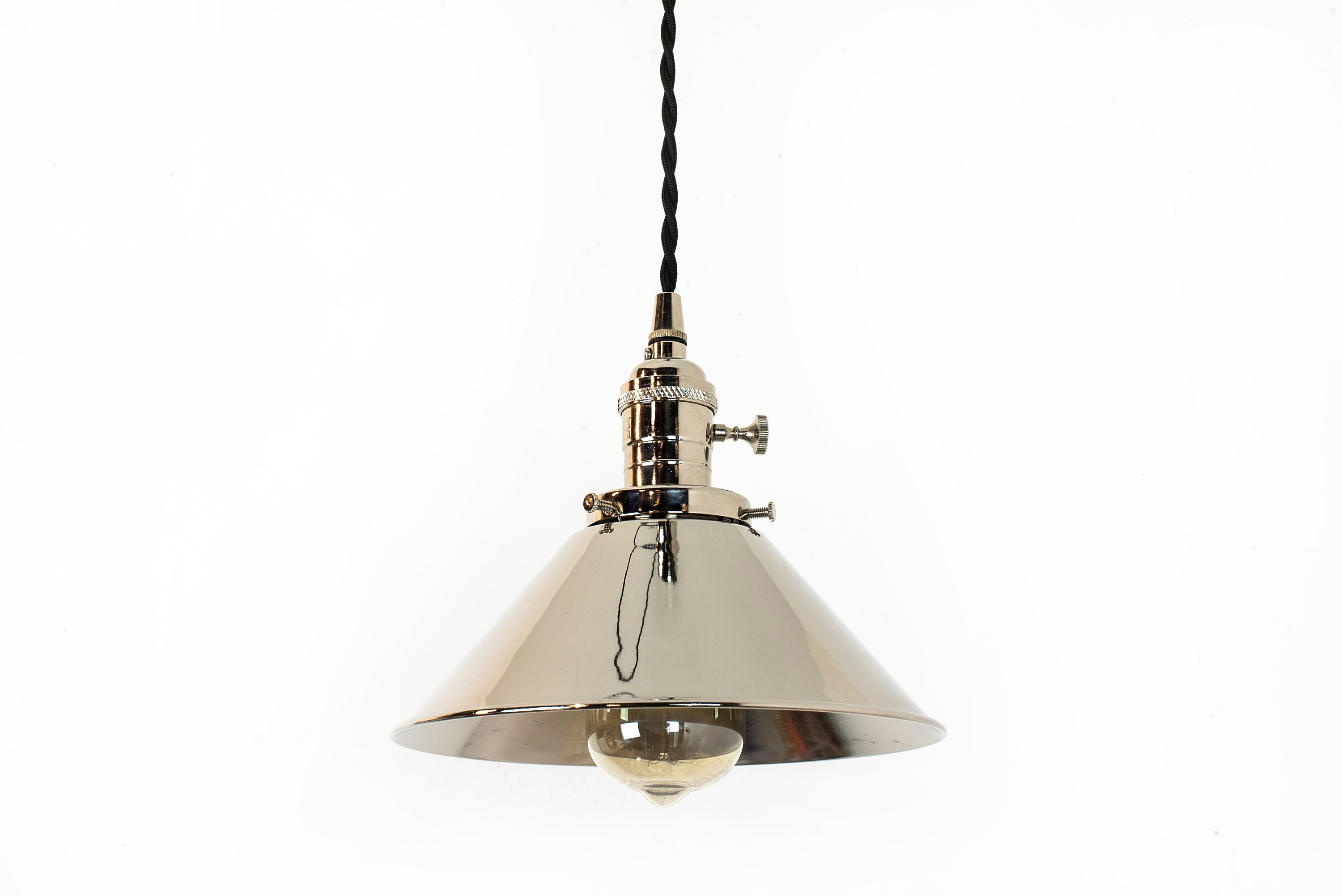 Nickel Pendant Light Chrome Hanging Lamp Plug In Pendant Modern Light Fixture Kitchen Lights Farmhouse Decor Polished Nickel