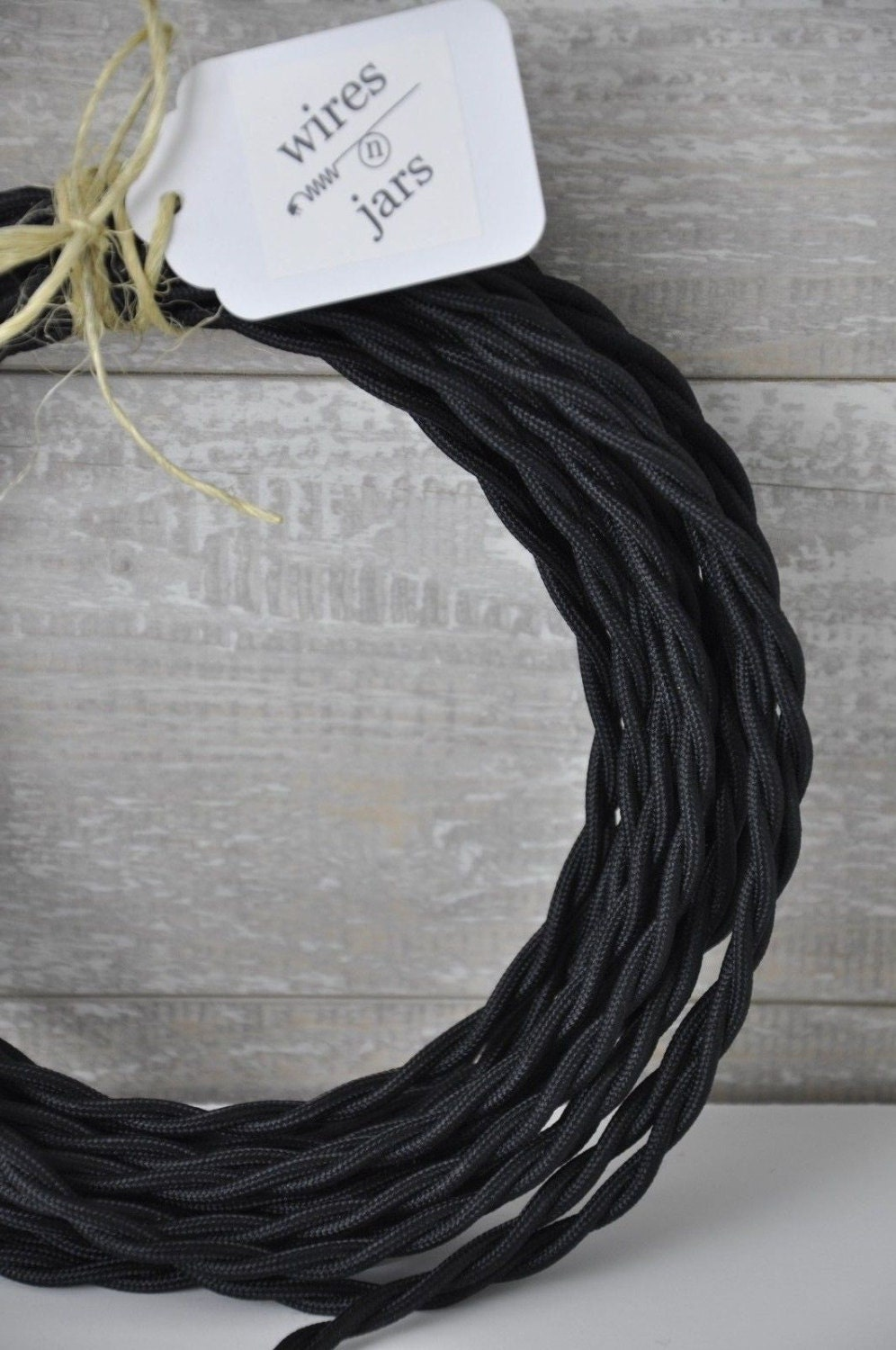 Twisted Cloth Covered Electrical Cord Wire LENGTH BY FOOT Black Lamp ...