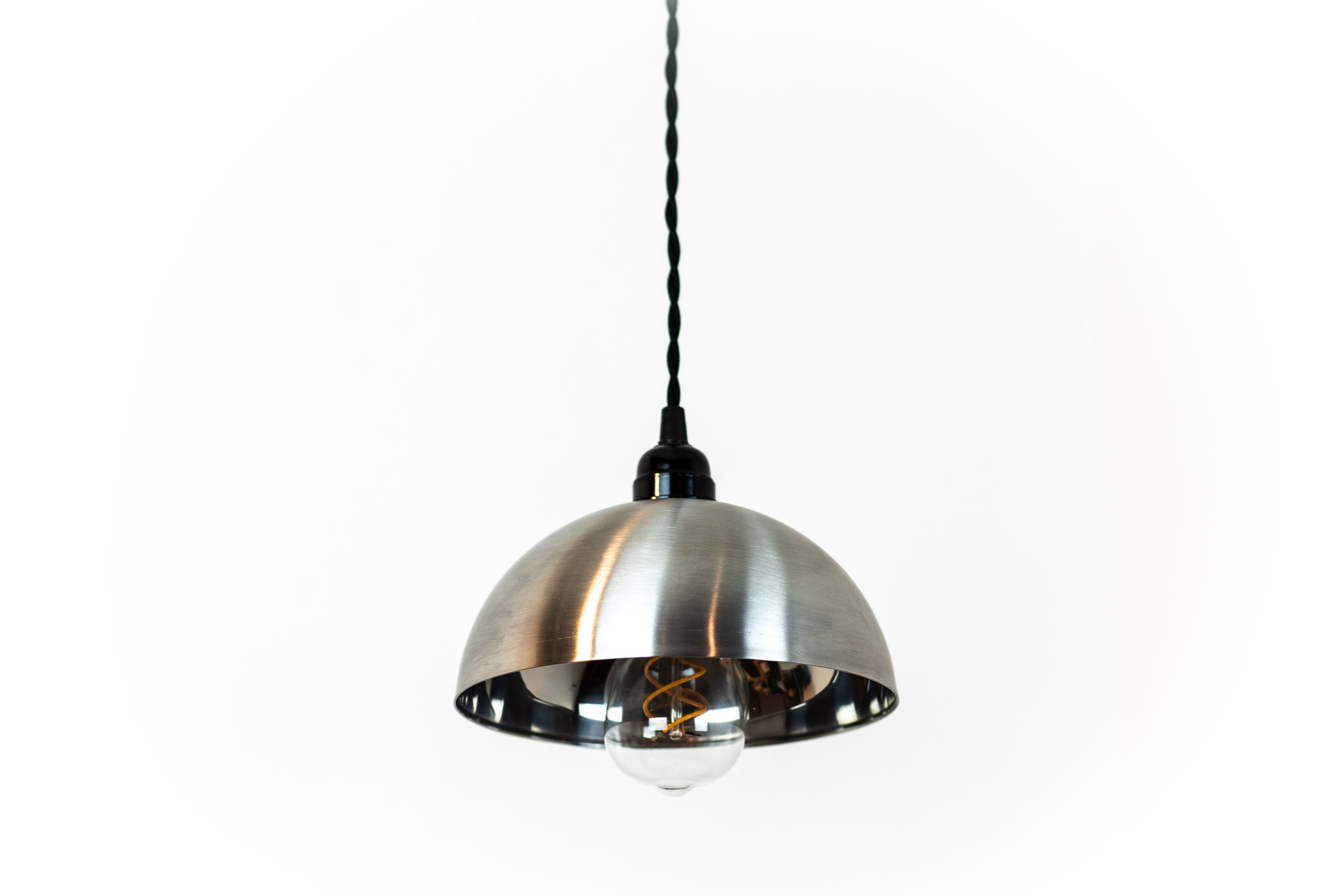Stainless Steel Pendant Light - Hanging Light Fixture - Plug In ...