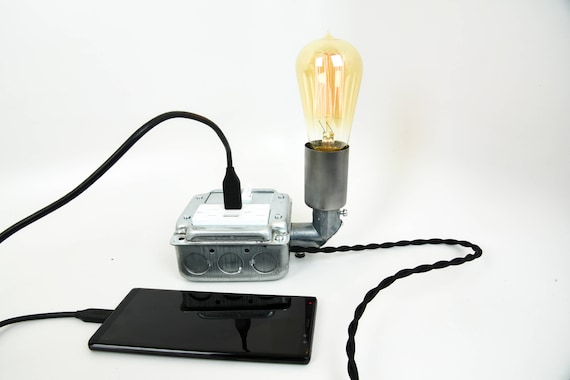 Table Lamp With Usb Port Phone Charging Lamp Usb Charging Etsy