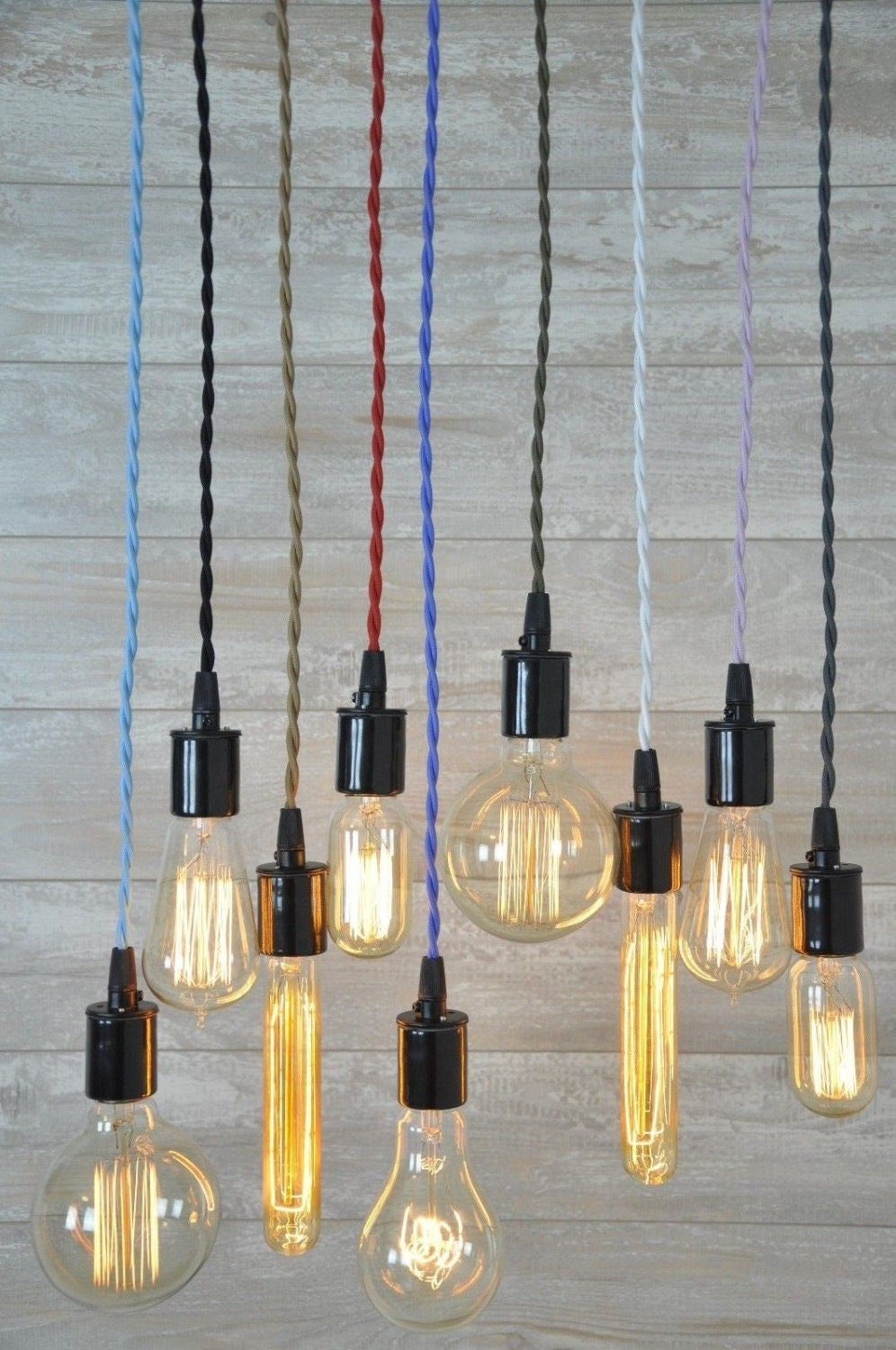 Cord Set With Bulb Socket 8 Foot Many Colors Ceiling Pendant Light Lamp Wiring Plug Ends