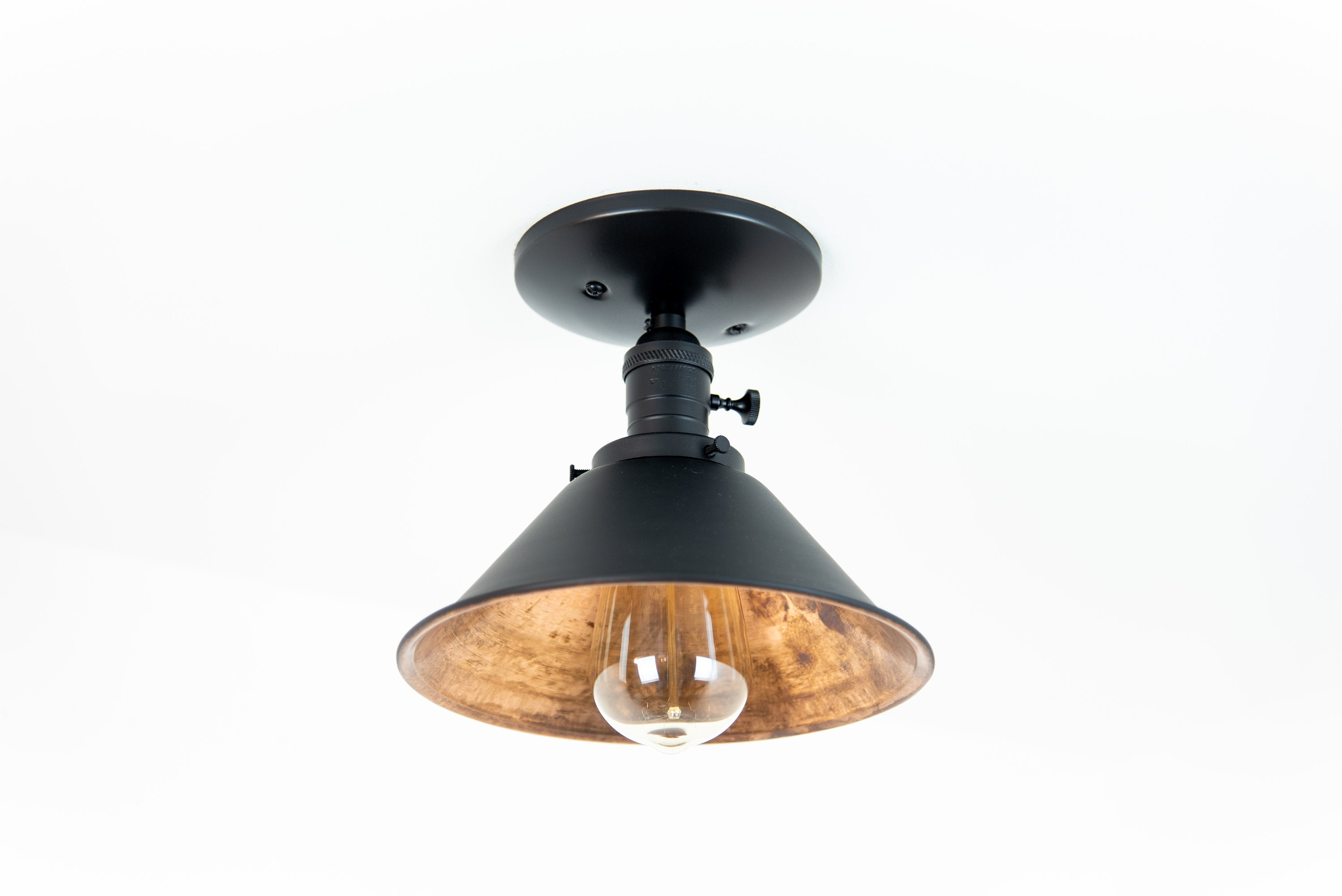 Flush mount ceiling light modern light fixture copper lights industrial chic black semi flush cone shade industrial lighting