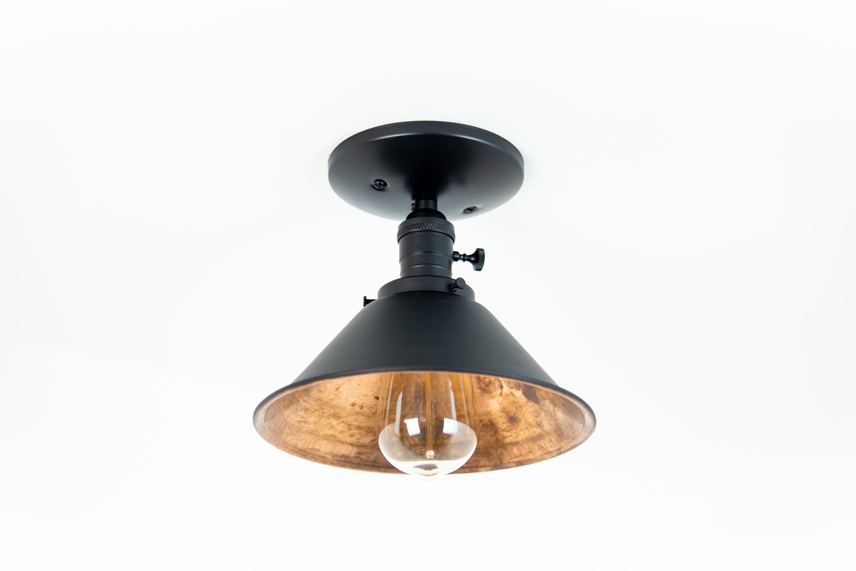 modern lighting fixture. Flush Mount Ceiling Light - Modern Fixture Copper Lights  Industrial Chic Black Semi Cone Shade Lighting Modern Lighting Fixture