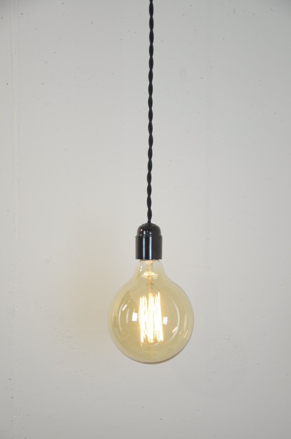 Pendant Light Black Twisted Cloth Covered Cord Wire Hanging Lamp Modern