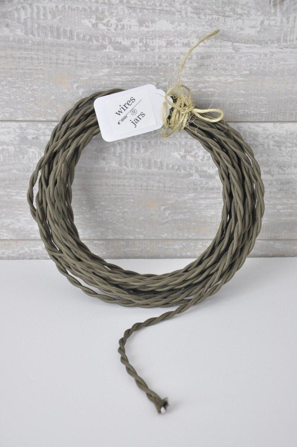 Twisted Cloth Covered Electrical Cord Wire LENGTH BY FOOT Olive ...