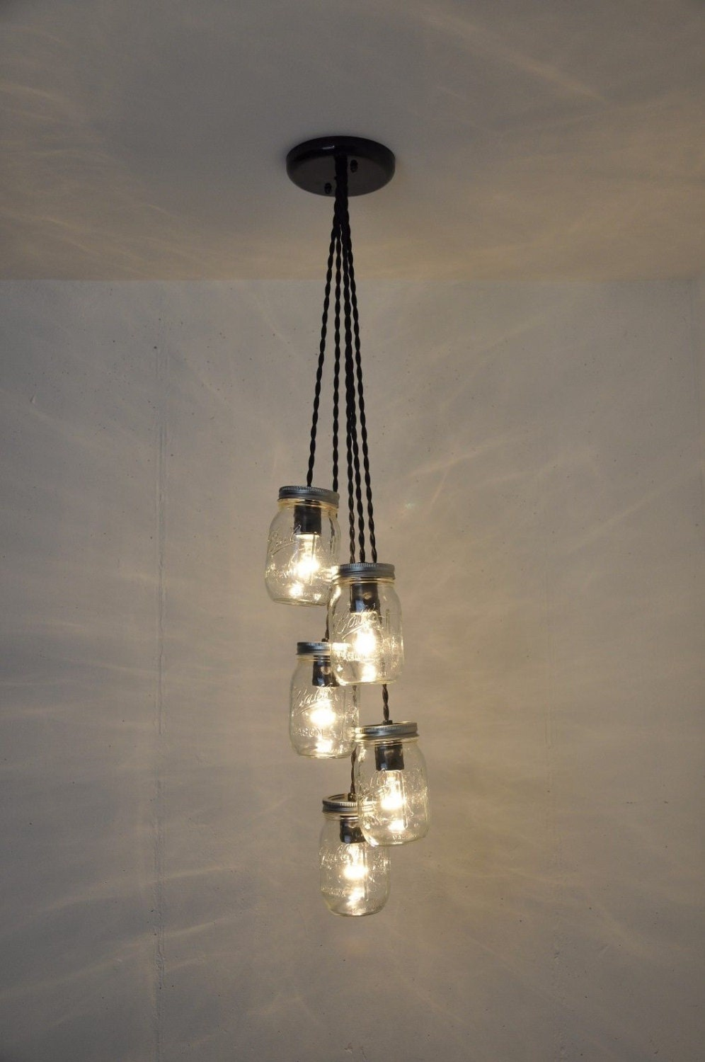 jar lighting fixtures. Mason Jar Chandelier - Light Fixture Ball Ceiling Pendant Plug In Hanging Lighting Fixtures