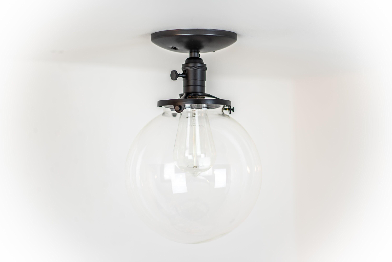 Large globe light glass ceiling lamp ceiling fixture black 1 aloadofball Choice Image