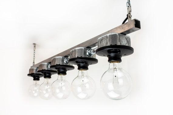 Vintage Matte Black Chandelier Edison Bulb Steampunk Pendant Hanging Lamp
