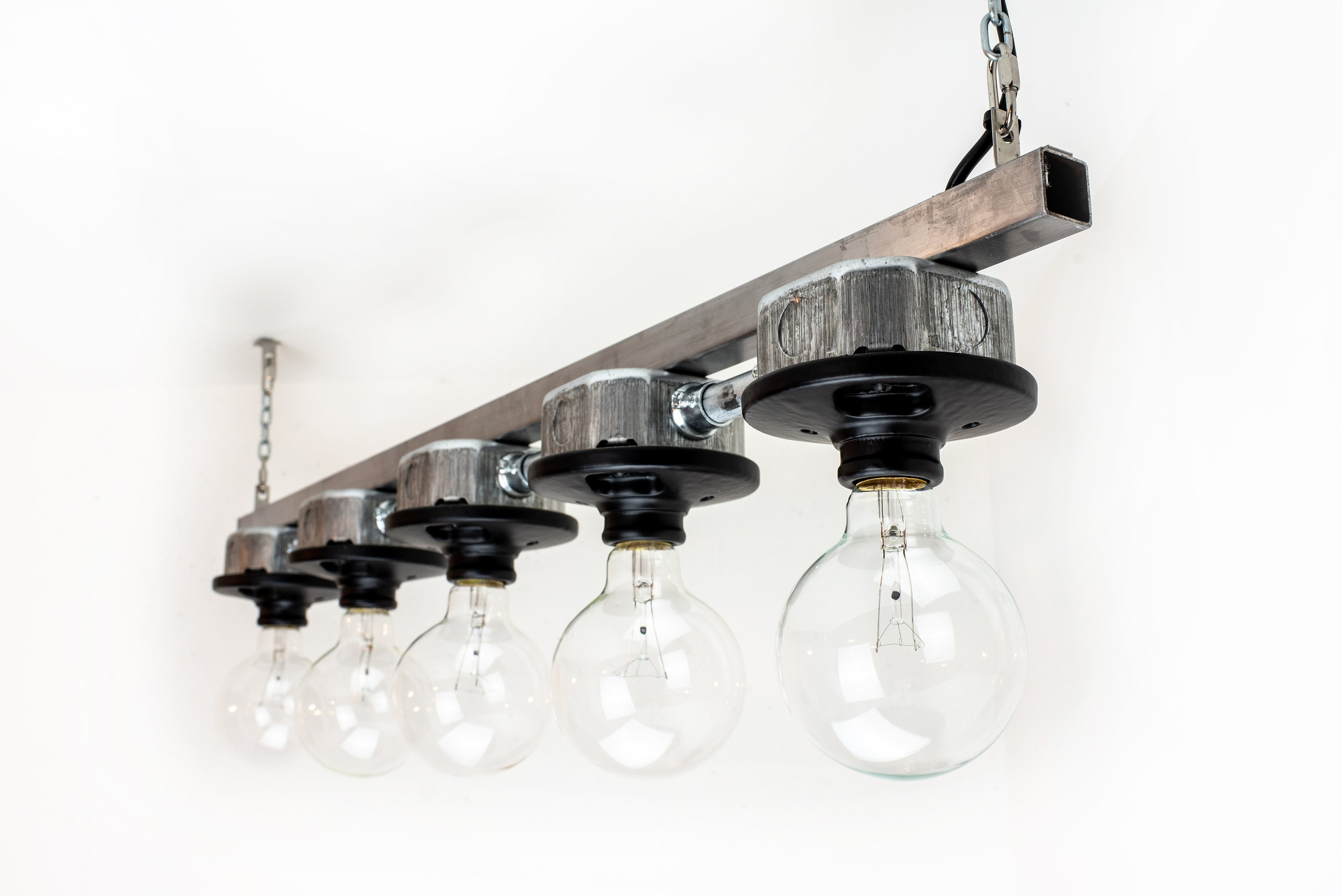 Industrial style lighting plug in pendant light 5 bulb light fixture industrial chandelier black ceiling lamp
