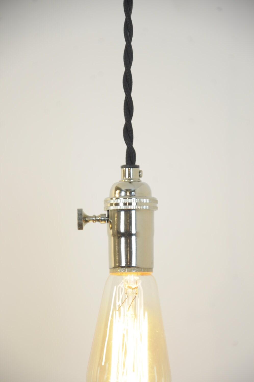 Nickel Pendant Light Chrome Hanging Light Plug In Lamp