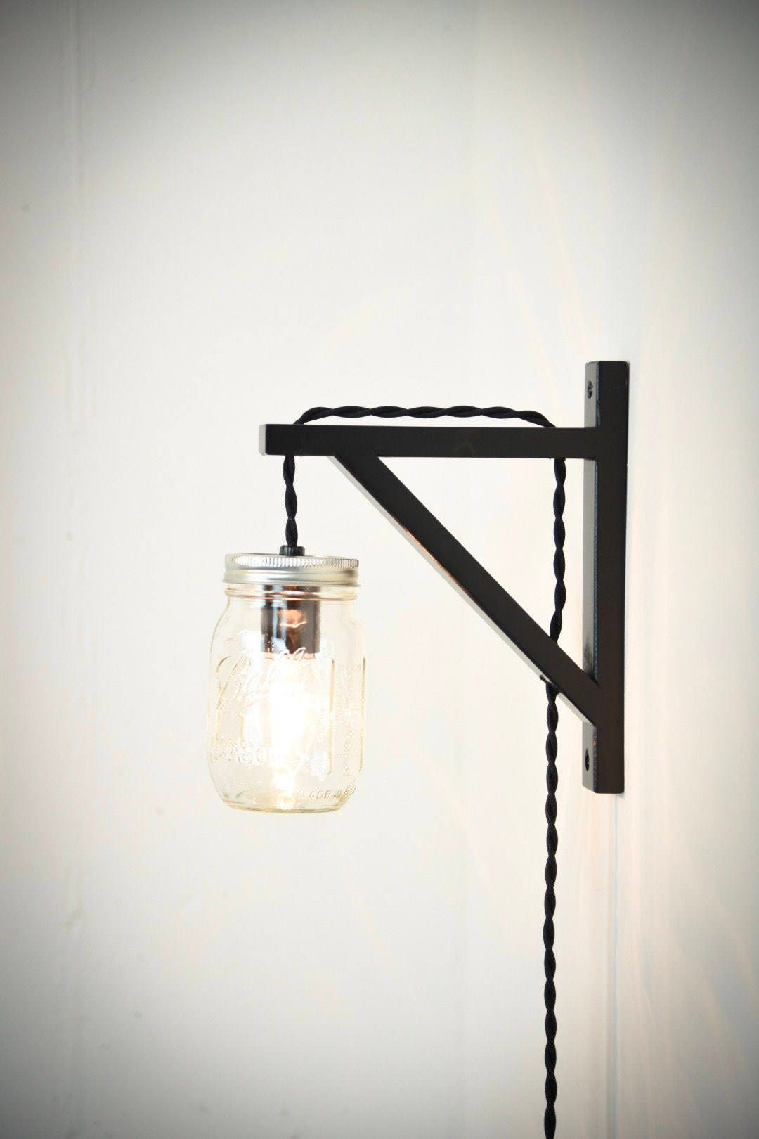 Mason jar wall sconce plug in wall sconce wall light black mason jar wall sconce plug in wall sconce wall light black wall lamp plug in light rustic lighting mason jar plug in light aloadofball Image collections