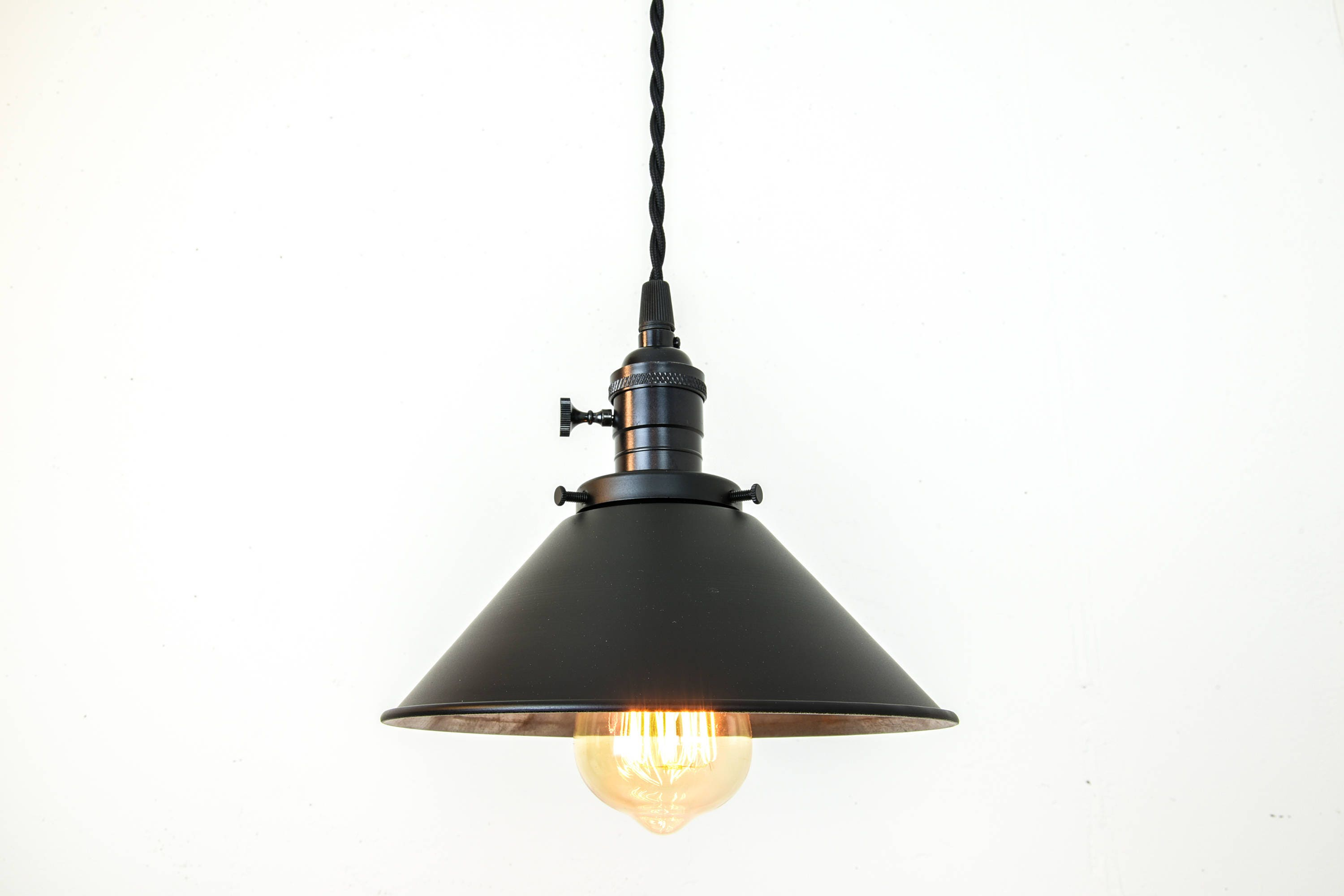 Black Pendant Light - Country Light Fixture - Hanging Light - Plug ...