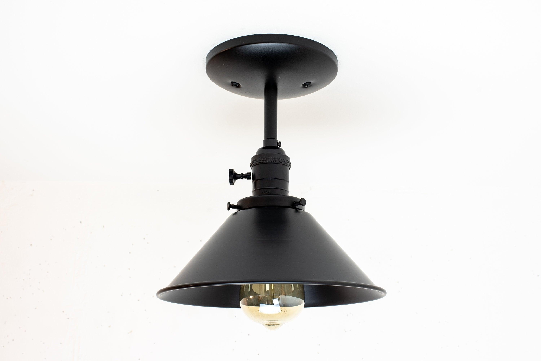 Black industrial lighting ceiling light fixture semi flush mount lights mid century modern lamp