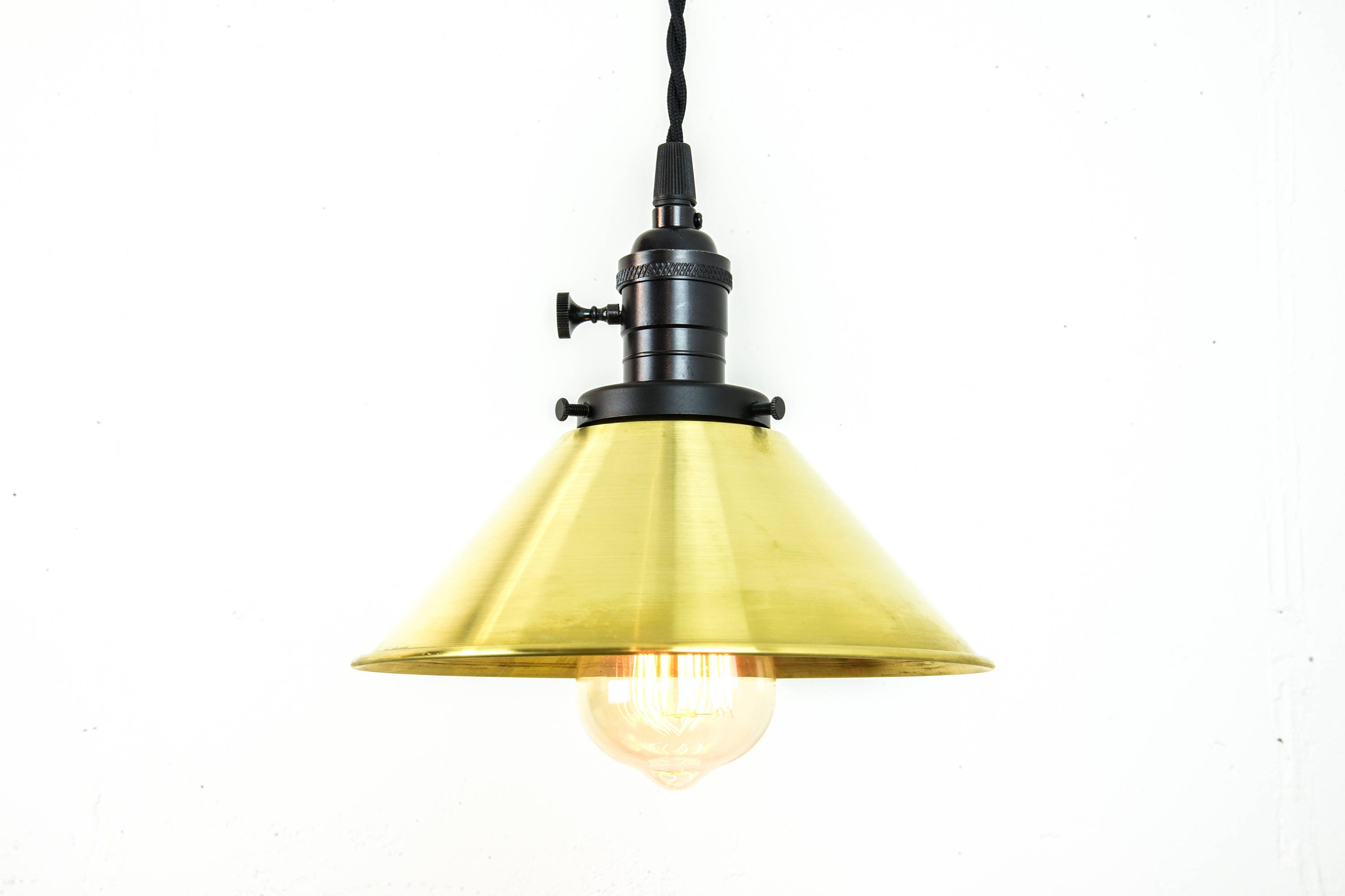 Brass Pendant Light - Hanging Light Fixture - Plug In Pendant Light ...