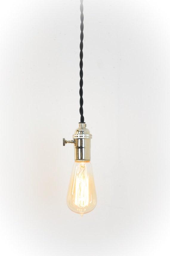 Nickel Pendant Light - Chrome Hanging Light - Plug In Lamp - Modern  Lighting - Kitchen Lamp - Farmhouse Lights - Rustic Decor - Polished