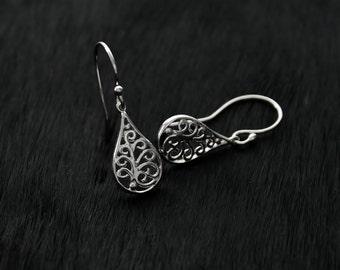Genuine 925 sterling silver filigree drop hook earrings gift boxed