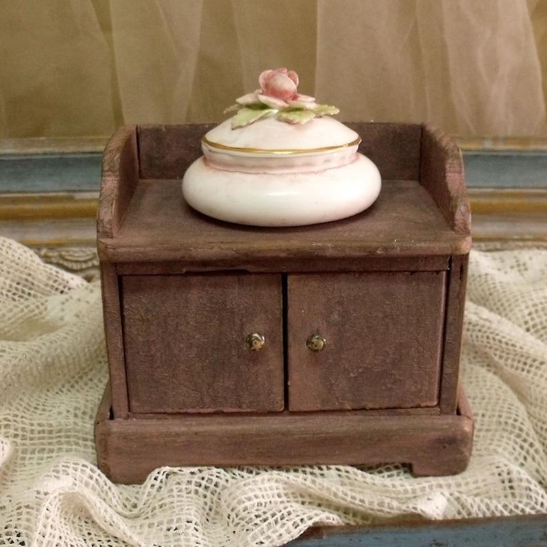 SALE Antique wood vanity jewelry box
