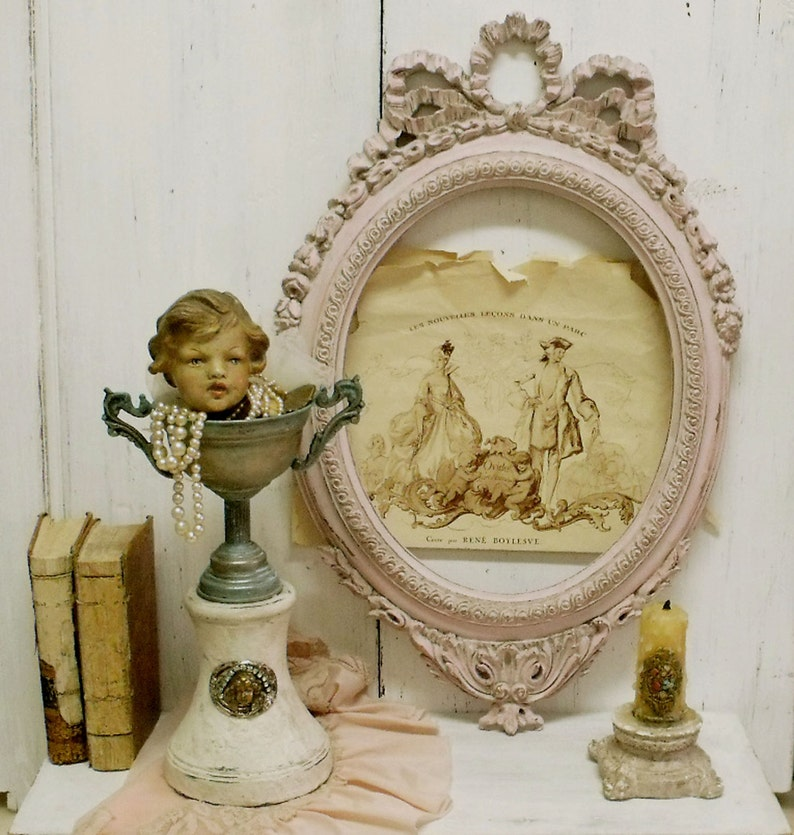 Vintage verdigris Trophy cup cherub vase