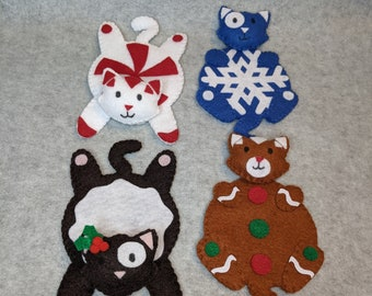 Felt Holiday Cat Coasters, Peppermint, Gingerbread, Snowflake, Plum Pudding, Christmas
