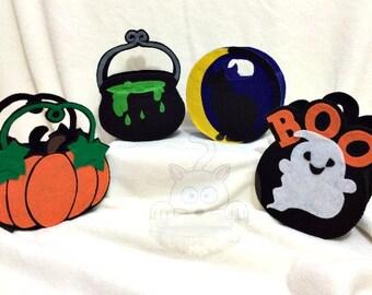 Felt Halloween Gift Baskets, Halloween Party Favor, Gift Bag, Pumpkin, Cauldron, Black Cat, Ghost