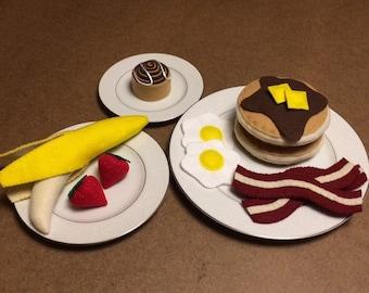 Felt Breakfast Set, Full Breakfast Set, Pancakes, Bacon & Eggs, Felt Food, Play food