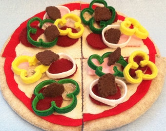 43 Piece Deluxe Felt Pizza, Personal Size Pizza, Personalized, Felt Food, Play Food