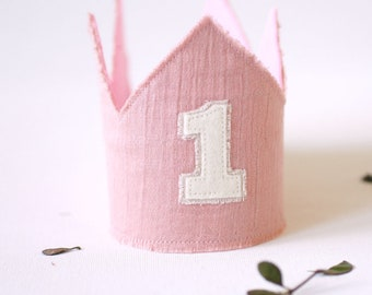 First Birthday Crown- Pink Boho Birthday crown girl - Birthday girl outfit-natural theme -Cake smash outfit girl- 1st Birthday Crown girl