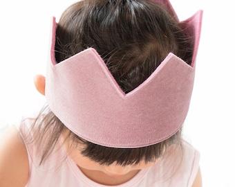 Velvet Pink Birthday Crown-Personalised Birthday Outfit- One Crown - 1st Birthday Girl Outfit-first birthday crown girl-2nd birthday girl