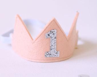 Peach 1st Birthday Hat - Felt first birthday Crown-Pastel birthday -Ice Cream party hat-First birthday outfit girl-Birthday crown girl
