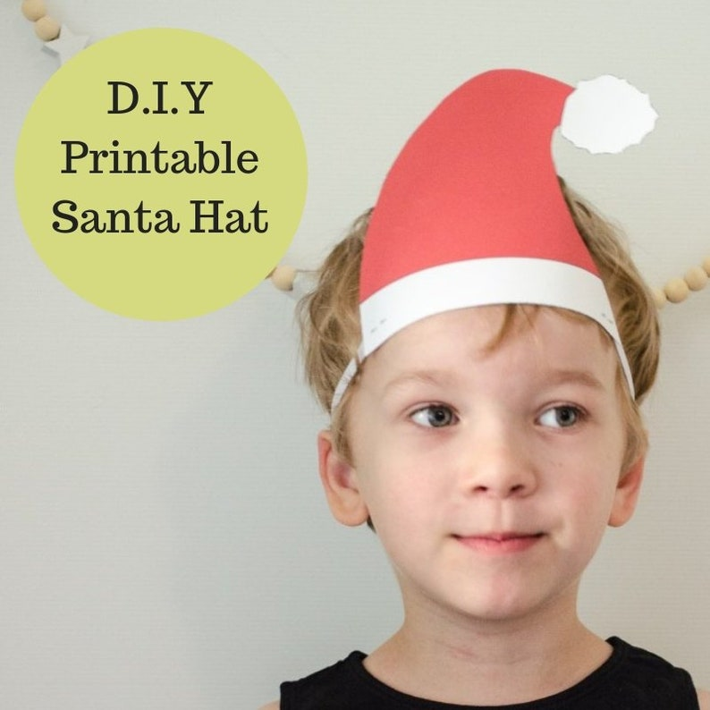 photo regarding Santa Hat Printable identified as Santa Hat printable - Xmas Printable - Prompt Obtain -Xmas craft for young children in direction of create Santa Hat for small children - Xmas craft concept