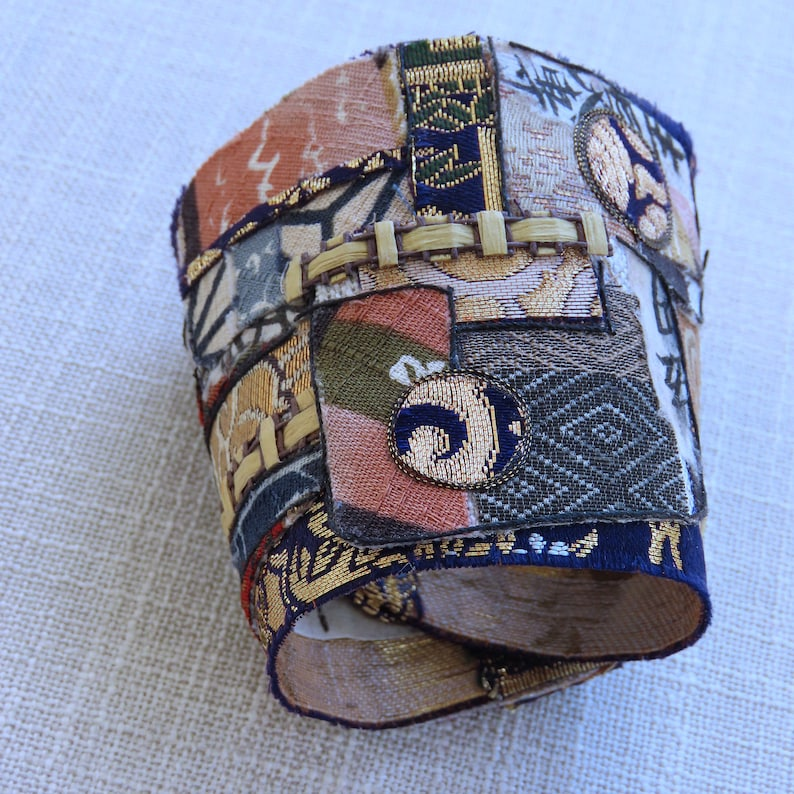 Statement Cuff Bracelet crafted from vintage /& contemporary Japanese textiles vintage buttons and old Japanese ledger paper