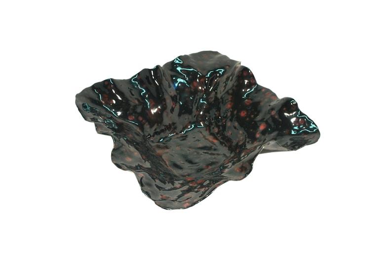 Handmade ceramic black and red decorative dish