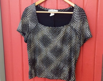 "Vintage 1990s ""Ronni Nicole"" Metallic Silver and Gold on Black Top (L)"
