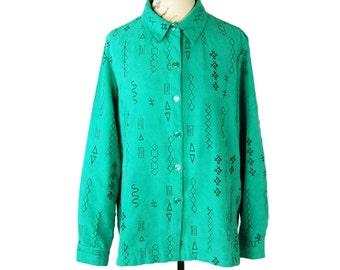 Vintage 1990s Sag Harbor Green Faux Suede Shirt with Black Abstract Geometric Pattern