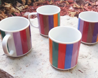 Vintage 1970s San Remo by Imperial Multi-Colored Retro Striped Mugs / Color Bars (Set of 4) / Rainbow Coffee Mugs